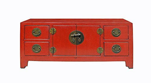 Chinese Oriental Zen Distressed Red Console Sideboard TV Cabinet Acs3925 (Sideboard Oriental)