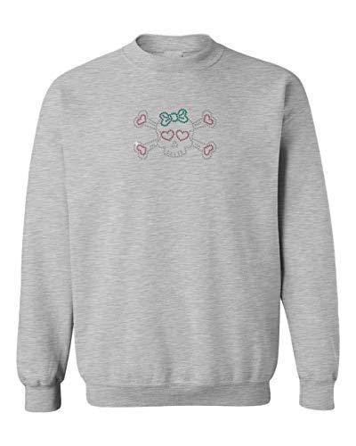 (Tcombo Skull & Crossbones with Bow Rhinestone Toddler Fleece Crewneck Sweater (Light Gray, 4T))