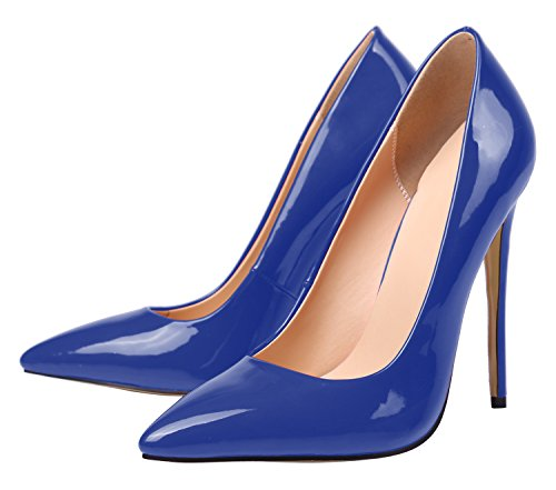 Elegant Toe Leather Pointed Shoes Stiletto Women's Court Heels Large SexyPrey Solid Patent Blue Size IZqvfzx