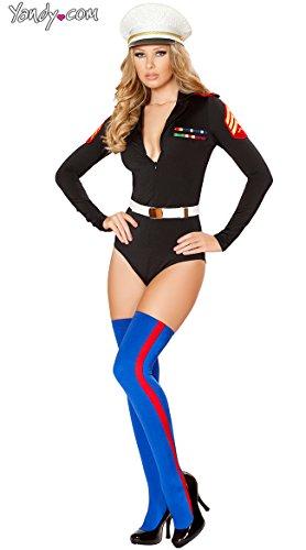 Female Marine Costume (Roma Costume Women's 2 Piece Sexy Marine Mama, Black,)
