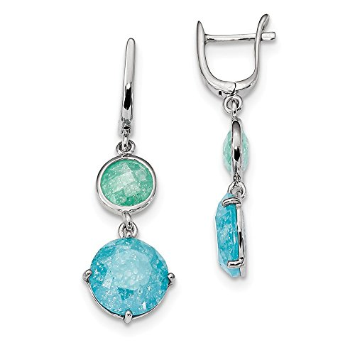 - Sterling Silver Round Green/Blue Ice CZ Cubic Zirconia Hinged Earrings (13.5mm x 43mm)