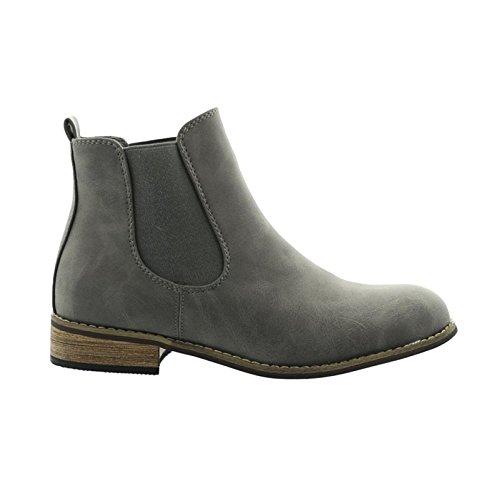 King Of Shoes Women's Chelsea Boots Grau 2 h85auYI