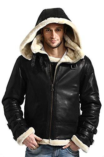- Men's Full Fur Classy Real Sheepskin Removable Hoodie B3 Black Leather Bomber Jacket