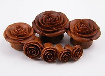 Rose Flower Ear Gauge Plugs - (8g) - Sawo / Sabo Wood