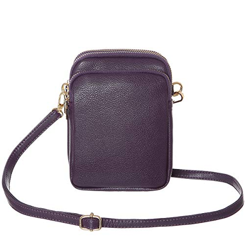 HAIDEXI Lightweight Nylon Small Purses or leather Small Crossbody bag Cell Phone Purses Wallet for Women (Leather-Purple)