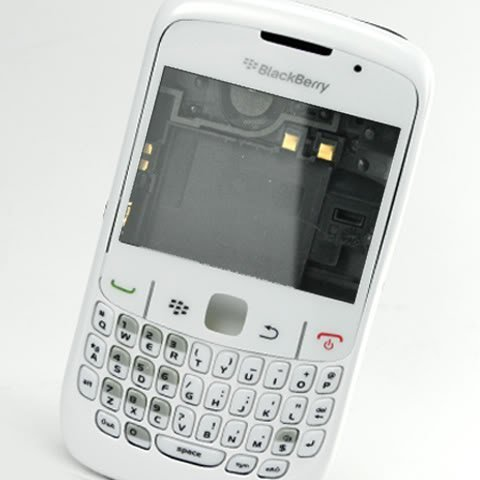 Original Genuine OEM BlackBerry Curve 8520 White Full Housing Faceplate Fascia Plate Panel Cover Case Repair Replace Replacement+Keyboard Keypad Key Keys Button (Blackberry 8520 Curve Cover)