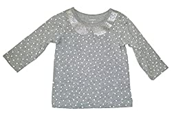 Carter's Baby T-shirt - Grey With White Polka Dots 6 Months