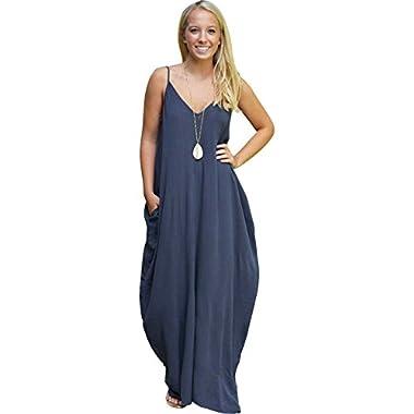 JOX JOZ Women's Boho Low V-neck Adjustable Shoulder Straps Maxi Dress (M, Navy Blue)