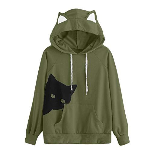 KASAAS Cat Print Ear Hoodie Sweatshirts for Women Long Sleeve Kangaroo Pocket Cute Jumper Pullover Tops Blouse(X-Large,Green)