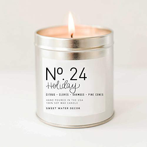 Holiday Natural Soy Wax Candle Silver Tin Citrus Cloves Pine Cones Oakmoss Sandalwood Christmas Scented Winter Candle Made in USA Lead Free Cotton Wick Rustic Decor Stocking Stuffer Gift For Her ()