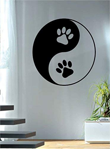 Athena Bacon Vinyl Sitcker Paw Prints Yin Yang Design Decal Sticker Wall Vinyl Art Words Decor Dog Cat Animal 28in x 26in by Athena Bacon