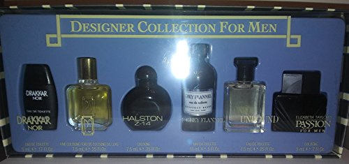 Designer Collection For Men 6 Piece Miniature Gift Set -Name Brand Cologne Samples (0.17 Ounce Cologne Miniature)