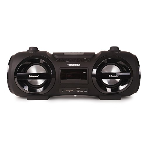Toshiba Wireless Bluetooth Boombox Speaker: Portable CD Boom Box with FM Radio, Remote & LED Lights