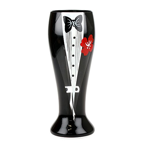 Top Shelf Painted Bachelor Pilsner Beer Glass ; Novelty Gift Ideas for Groom to Be ; Unique Party Favors for Bachelor and Engagement Party or Wedding Reception