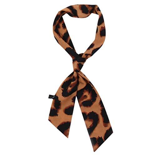 HYIRI Affordable Women Ladies Leopard Print Scarf Wrap Shawls Soft Silk Scarf Ribbon