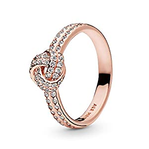 Pandora Jewelry Shimmering Knot Cubic Zirconia Ring in Pandora Rose