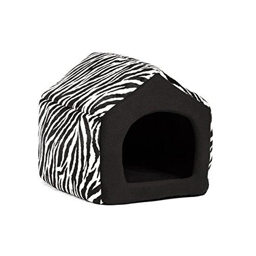 Pet Furniture 2-in-1 Dog House Sofa, Medium , Brown Zebra Pr