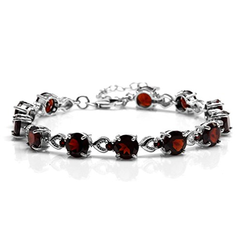 - 21.24ct. Natural Garnet White Gold Plated 925 Sterling Silver 7-8.5