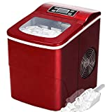 Tavata Countertop Portable Ice Maker Machine, 9 Ice Cubes Ready in 6 Mins, Makes 26 lbs of Ice per 24 Hours, with Ice Scoop and Basket (Red)