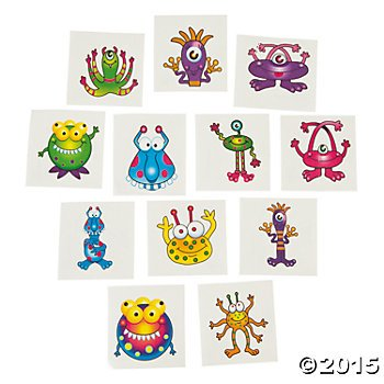 144 Silly MONSTER TATTOOS - Birthday PARTY FAVORS - FUN GOOFY Creatures