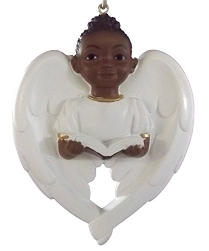 On Holiday African American Angel Wing Cherub Love Holding Book Christmas Tree Ornament B