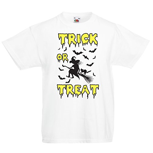 T Shirts Kids Trick Treat - Halloween Witch - Party outfites - Scary Costume (12-13 Years White Multi Color)