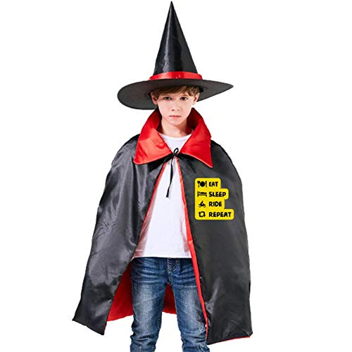 Kids Cloak Eat Sleep Ride Repeat Wizard Witch Cap Hat Cape All Hallows'Day Costume Magician Halloween Party Boys DIY Prop