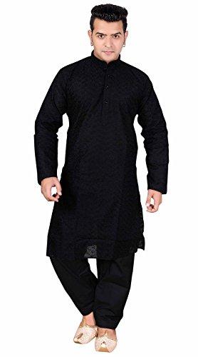 Black Men's Sherwani Indian kurta salwar kameez for Bollywood theme Party and casual wear in S,M.L,XL,XXL,XXXL London UK 728 (44 (XXL - UK), - Guaranteed Royal Next Mail Day