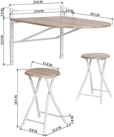 color faggio realizzato in legno tavolo pieghevole oblungo da parete Innovareds con sgabello pieghevole incluso ideale per colazione e cena