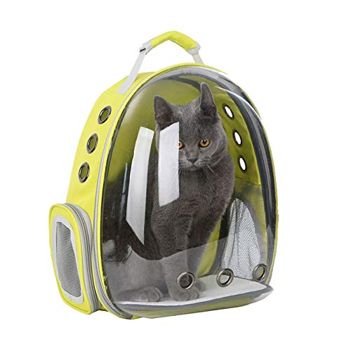 F2 MSchunou Comfortable and Breathable Space Capsule cat and Dog pet Backpack, Lightweight and Safe, and Portable cat Shoulder Bag (42  34  25cm)