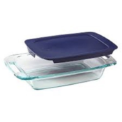 Pyrex Basics 3 Quart Glass Oblong Baking Dish with Blue Plastic Lid - 9 inch x 13 Inch