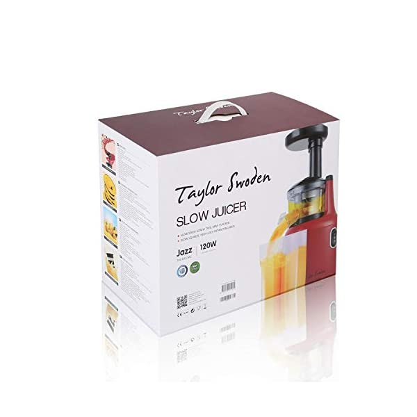 Taylor Swoden Jazz - Estrattore di Succo Professionale a Freddo, Spremitura Lenta 55 giri/Min, Estrattore per Frutta, Verdura e Gelato,Spremitura Lenta, Pre-pulizia e Funzione Inversa,BPA Free - 2021 -