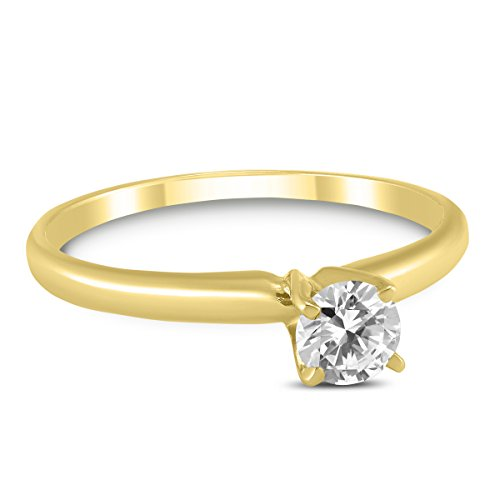Round Diamond Solitaire Ring in 14K Yellow Gold ()