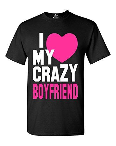 Sixtion I Love My Crazy Boyfriend Unisex T-shirt Couple Shirts Negro