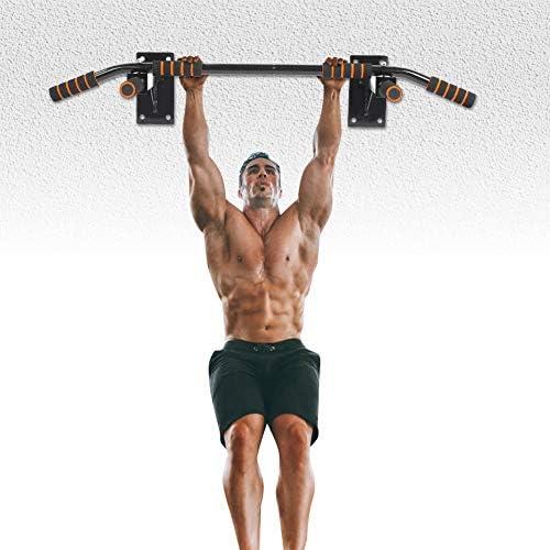Biuzi Barra Pull Up 1Set Tubo de Acero y Espuma Montaje en Pared Barra Pull Up Chin-up Body-bulding Ejercicio Fitness Gym Inicio Equipo de Pull-up ...