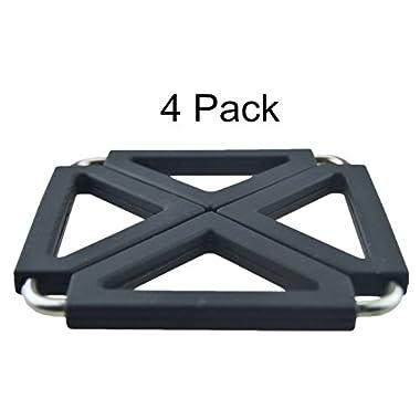 MelonBoat Expandable Silicone & Metal Trivet Mat, Hot Pot Holder Pads, 6.3  Square Black, Set of 4