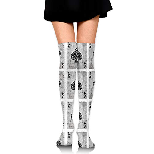 MFMAKER Extra Long Cotton Mid Thigh High Vintage Ace of Spades Card Poker Lover Socks Cotton Leg Warmers Over The Knee High Boot Stockings