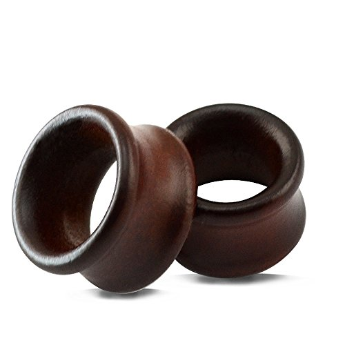 Vintage Natural Brown Wood Organic Ear Tunnel Plugs Stretcher Gauges for Men and Women ()