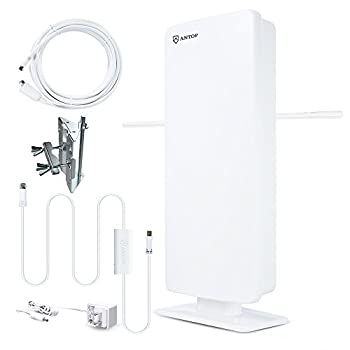 Image of Outdoor HDTV Antenna - ANTOP Flat Panel Smartpass Amplified Antenna with Noise-Free 4G LTE Filter for VHF Enhanced, 70 Miles Multi-Directional Reception, 39ft Detachable Coaxial Cable TV Antennas