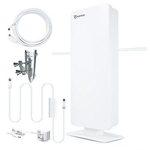 ANTOP AT-400BV Flat-panel Smartpass Amplified Outdoor/Indoor HDTV Antenna with High Gain and Built-in 4G LTE Filter 60/70 Miles Long Range Multi-Directional Reception 39ft Detachable Coaxial Cable