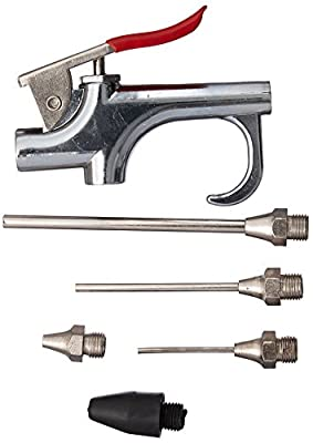 Neiko 31112 Air Blow Gun Set with 5 Interchangeable Nozzles and Over-Sized Trigger | 5 Piece Set