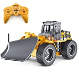 fisca RC Truck Remote Control Snow Plow 6 Channel 2.4G Alloy Snow Sweeper Vehicle 4WD Tractor Toy with Lights for Kids