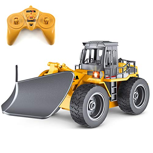 fisca RC Truck Remote Control Snow Plow 6 Channel 2.4G Alloy Snow Sweeper Vehicle 4WD Tractor Toy with Lights for -