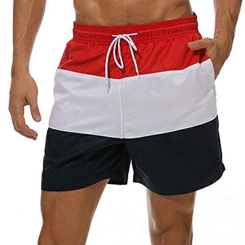 5ca9dc07b2386 LANYI Men's Swim Trunks Quick Dry Beach Shorts with Pockets Mesh Lining  (Red 3, US S(Fits Waist 30