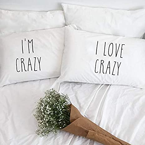 prz0vprz0 V Pack of 2 I Am Crazy I Love Crazy Couple Pillow Case Pillo wcases for Him Girlfriend Husband Her ...