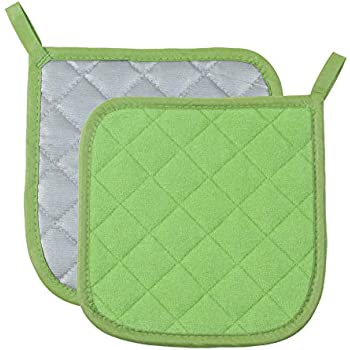Pot Holders Cotton Made Machine Washable Heat Resistant Potholder, Pot Holder, Hot Pads, Trivet for Cooking and Baking (2, Green)