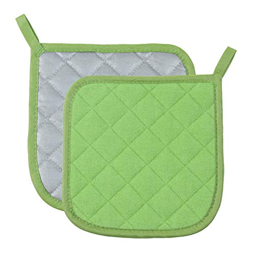 Green Pot Holder - Pot Holders Cotton Made Machine Washable Heat Resistant Potholder, Pot Holder, Hot Pads, Trivet for Cooking and Baking (2, Green)
