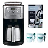 Cuisinart DGB-900BC Burr Grind and Brew Thermal 12 Cup Automatic Coffeemaker, Brushed Chrome Includes Descaling Powder and 2 Mugs with Spoons Bundle (Renewed)