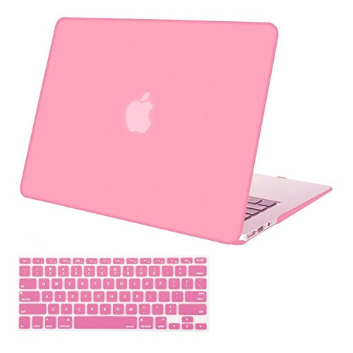 MOSISO Plastic Hard Shell Case & Keyboard Cover Skin Only Compatible with MacBook Air 11 Inch (Models: A1370 & A1465), Pink
