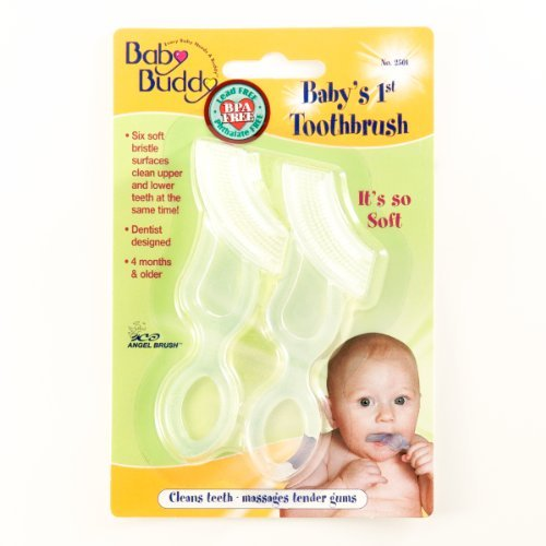 Baby Buddy Baby's 1St Toothbrush 2Ct Clear Silicone Toothbrus (Pack Of 18)